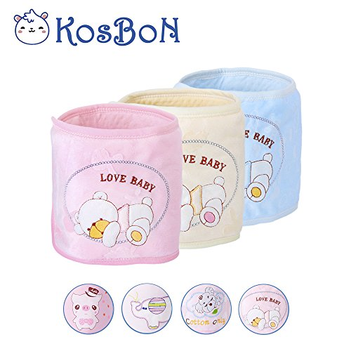 Kosbon Pack Of 3 Pure Cotton Double Layer Cute Bear Pattern Baby Infant Umbilical Cord Umbilical Navel Hernia Truss (Infant Umbilical Cord)