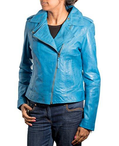 Glissire Court Latžrale Brando Avec Cuir Veste Motard En Bleu Style Les Vžritable Femmes Žlžgante Fermeture ˆ 8wOqnFAx