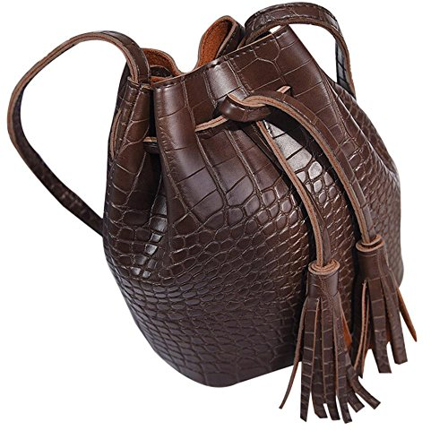 Shoulder Messenger Bucket Brown Robemon Women Casual Handbag Fashion Satchel Crossbody Bag Tassels Leather IgprqPI