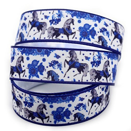 White China Horse Design Pattern Print Deco Grosgrain Ribbon-7/8