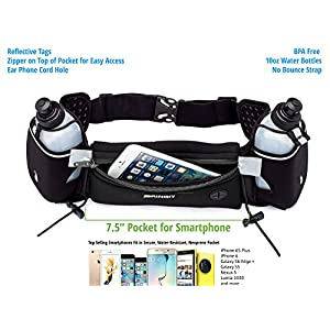 Hydration Running Belt with Water Bottles (2X BPA Free 10oz), Fuel Belt Fits iPhone 6s Plus for Running, Race, Marathon, Hiking, Adjustable Waist Hydration Pack, Men & Women Runners Belt