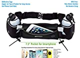 Running Belt With 10oz Running Water Bottles | Running Hydration Belt Fits iPhone 6s Plus and other Smartphones | Adjustable Running Belt with Water Bottles