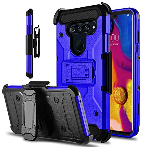 LG V40 Case, LG V40 ThinQ Case, Tevero Kickstand [Heavy Duty Protection] Hybrid Swivel Belt Clip Holster Rugged Full Body Armor Protective Shockproof Phone Case Cover for LG V40 (Blue)