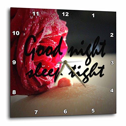 3dRose RinaPiro - Sex Quotes - Good night. Sleep tight. Romantic red rose. - 10x10 Wall Clock (dpp_261468_1) by 3dRose
