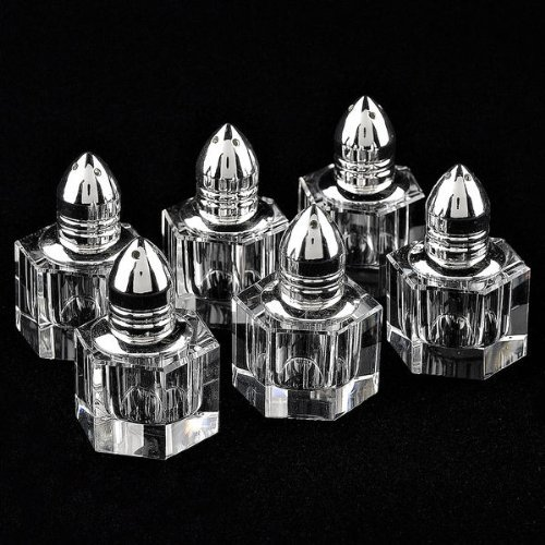 (Badash Optical Crystal Individual Salt and Pepper Shakers, Height 2-Inch, Set of 6)