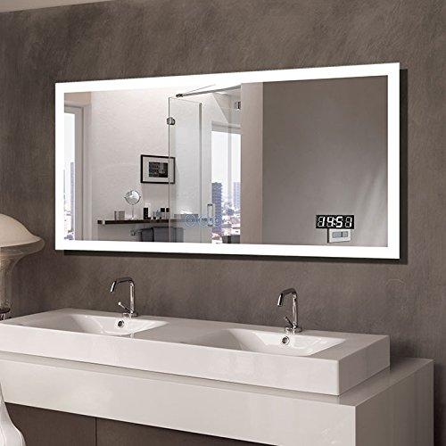 BHBL 55 x 28 in Horizontal Clock LED Bathroom Mirror with Anti-Fog -