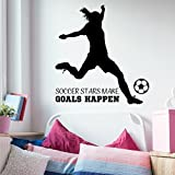 Girls Soccer Wall Decal, Girls Soccer Decorations For Room, Large 35'' W x 36'' H Black