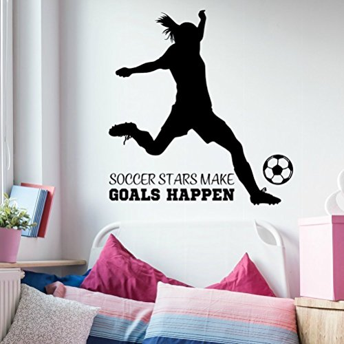 "Girls Soccer Wall Decal, Girls Soccer Decorations For Room, Large 35"" W x 36"" H Black"
