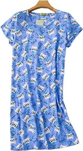 (Women's Nightgown Cotton Print Nightskirt Soft Tee Shirt Sleepwear CSQ01-Lucky Cat-XL )