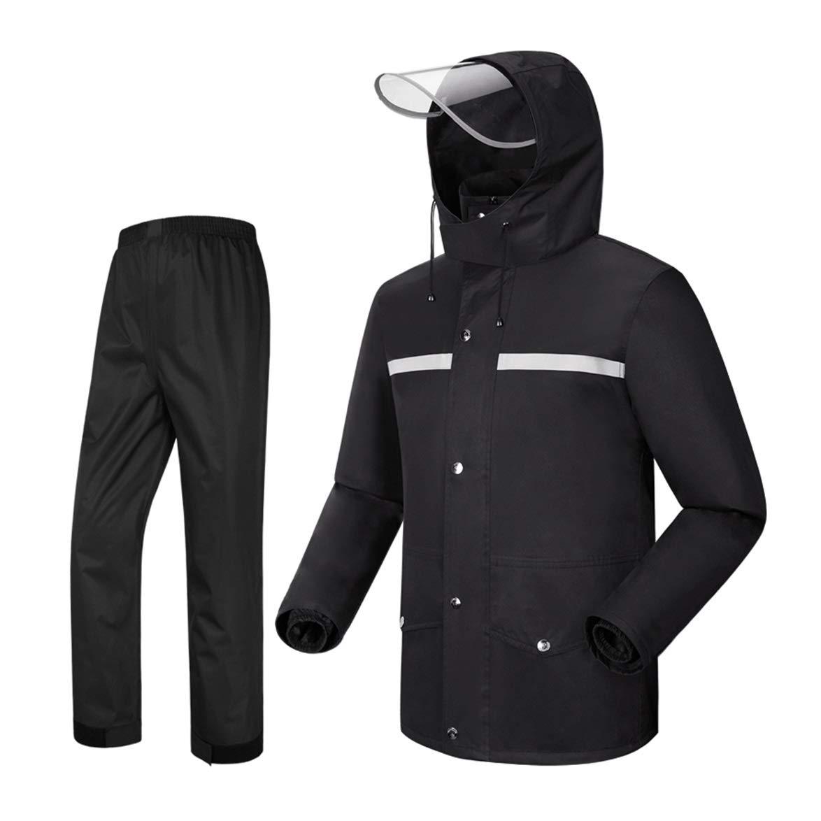 LAXF-Regenbekleidung Regenmantel mit Kapuze, Regenanzug für Männer wasserdicht Radfahren Motorrad Fahren Golf 2-teiliger Anzug