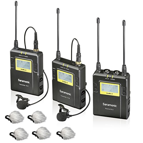 Saramonic UWMIC9 96-Channel Digital UHF Wireless Lavalier Microphone System with 2 Bodypack Transmitters, Portable Receiver, 2 Lav Mics & Bonus ''Deadcat'' Lav Mic Windscreens (RX9+TX9+TX9) by Movo