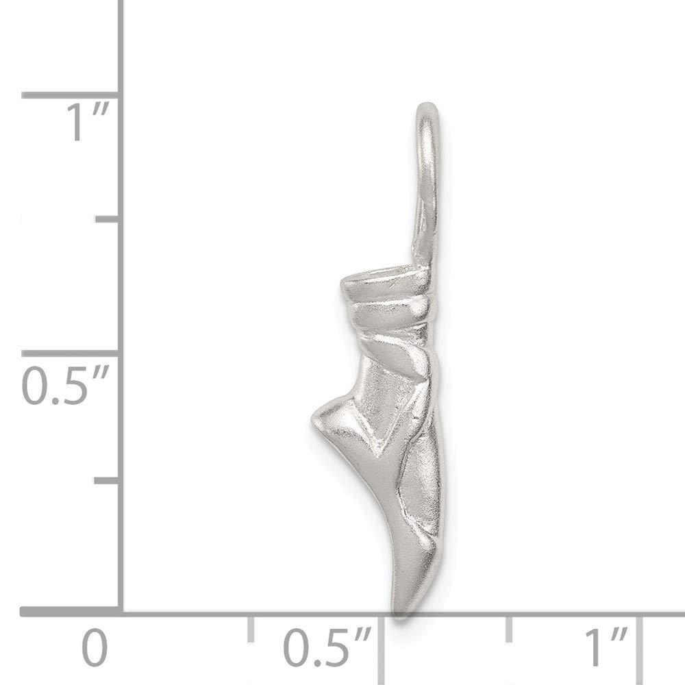 Mia Diamonds 925 Sterling Silver Solid Ballet Slipper Charm 28mm x 8mm