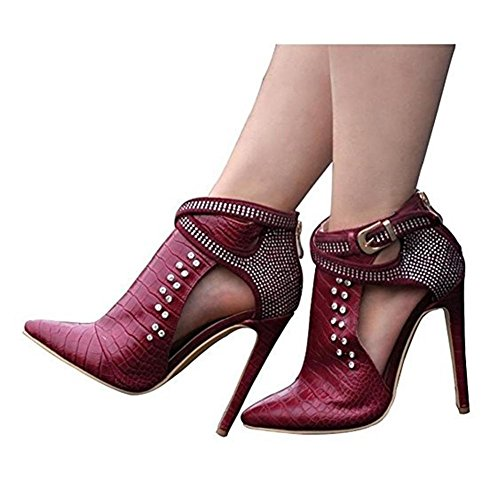 Red Wine Diamante Ankle Serpentine Wine Autumn Leather Shoes Pointed Boots Stiletto Spring Red Ladies Heel Women Winter TRqwTv