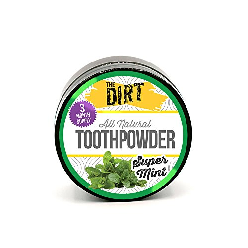 The Dirt All Natural Trace Mineral Whitening Tooth Brushing Powder - Super Mint - 3 Month Supply - 25 gram