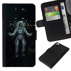 KingStore / Leather Etui en cuir / HTC Desire 820 / Astrounaut cosmonauta espacio de arte de las mariposas