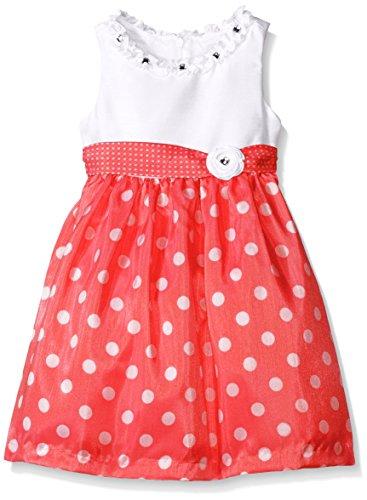 American Princess Little Girls' Toddler Polka Dot Shantung Dress, Coral, 2T (Polka Coral Dot)