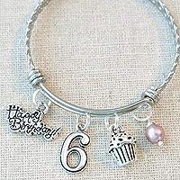 6th BIRTHDAY GIRL BRACELET, 6th Birthday Charm Bracelet, 6 Year Old Daughter Birthday Gift Idea, Girls Sixth Birthday Gift, 6 Year Old Girl Birthday Bracelet