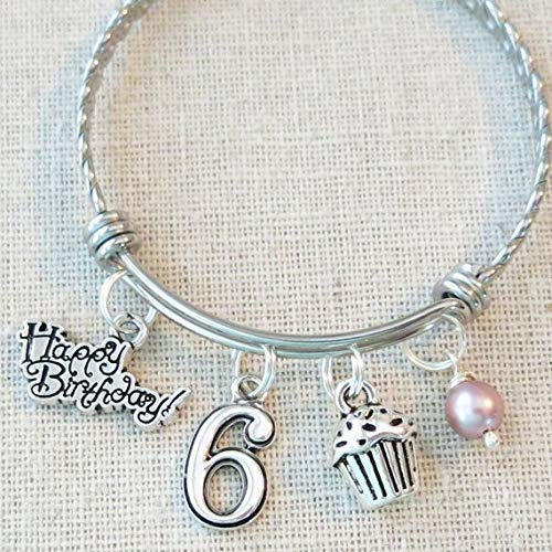 6th BIRTHDAY GIRL BRACELET Birthday Charm Bracelet 6 Year Old Daughter Gift Idea Girls Sixth Girl