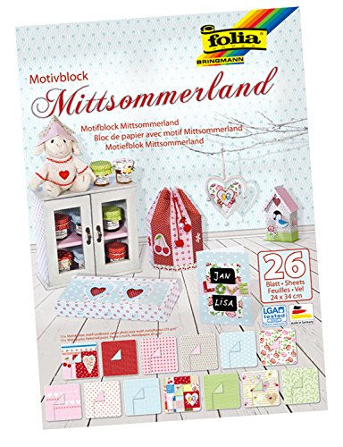 Folia 46849 - Motivblock Mittsommerland, 26 Blatt, 24 x 34 cm, sortiert