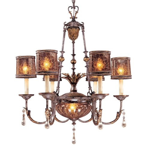 (Metropolitan N6076-194, Sanguesa Crystal 1 Tier Chandelier Lighting, 8 Light, 410 Watts, Patina )