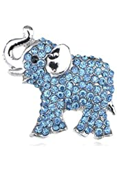 Alilang Womens Silver Tone Clear Blue Pink Rhinestones African Baby Elephant Brooch Pin