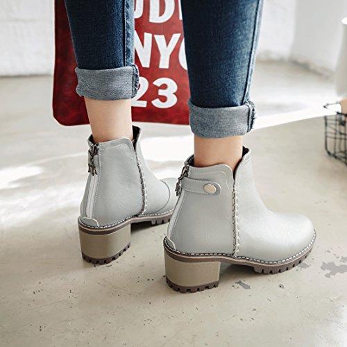 AIYOUMEI Damen Chunky Heel Ankle Boots Blockabsatz Stiefeletten mit 6cm Abstaz Bequem Schuhe Grau