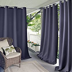 """Elrene Home Fashions Indoor/Outdoor Solid Grommet Top Single Window Curtain Drape, 52"""" X 84"""" (1 Panel), Blue"""
