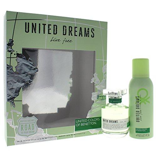 - United Dreams Live Free by United Colors of Benetton for Women 2 Piece Set Includes: 2.7 oz Eau de Toilette Spray + 5.1 oz Deodorant Spray
