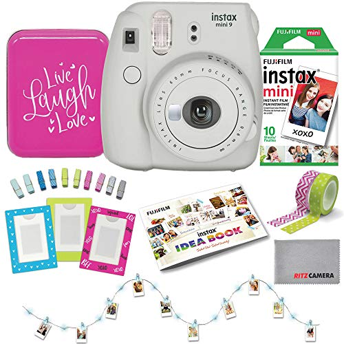 Fujifilm Instax Mini 9 with 10-Pack of Film, Photo Clip Lights, Magnetic Frames, and Accessories Back to School Bundle (White)