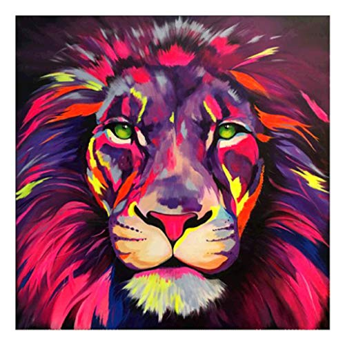 Baulody 5D Diamond Painting by Number Kit DIY Full Round Drill Cross Stitch Embroidery Rhinestone Picture Craft Art for Home Wall Decor Loving Lion and Wolf 12x12inch (C)