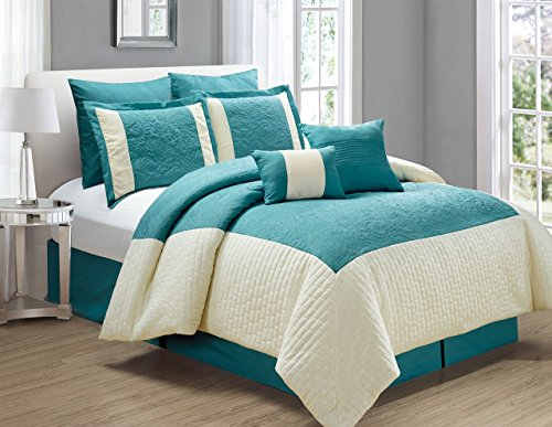 KingLinen 8 Piece Poloma Teal/Ivory Comforter Set Queen
