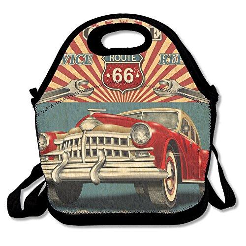 Vintage Car Garage Extra Large Gourmet Lunch Tote Food Handbag