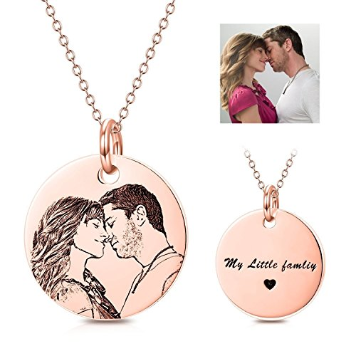 Necklace Photo Charm Tag Dog (LONAGO Personalized Photo Necklace Custom Engraved Necklace Pendant Back and White Color Sterling Silver Gifts (Rose-Gold-Plated, 16))