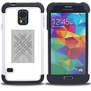 - COMPUTER ART QUILTED VIKING WHITE - - Doble capa caja de la armadura Defender FOR Samsung Galaxy S5 I9600 G9009 G9008V RetroCandy