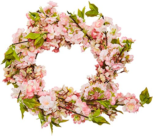 Nearly Natural 4783 Cherry Blossom Wreath, 24-Inch, Pink (Blossom Wreath)