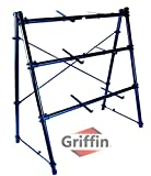 3 Tier Keyboard Stand by Griffin|Triple A-Frame Standing Synthesizer Mixer Holder with Adjustable Height|Pro Audio Stage Performance / Recording Studio Hardware for Music Schools, DJs, Bands, Churches