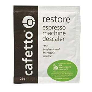 Cafetto Restore Organic Descaler - Coffee Machine Cleaning Powder, 4 Single Use Packets from Cafetto