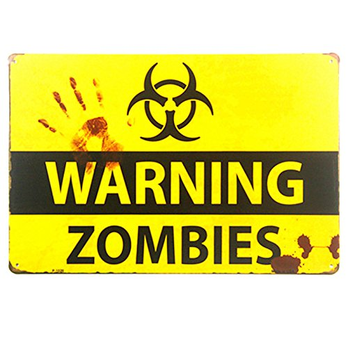 dingleiever DL-Shabby Chic Retro Zombie Warning Signs Halloween Posters -