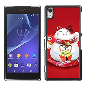 Exotic-Star ( Cute Fat Happy Cat Japanese ) Fundas Cover Cubre Hard Case Cover para SONY Xperia Z2 / D6502 / L50W