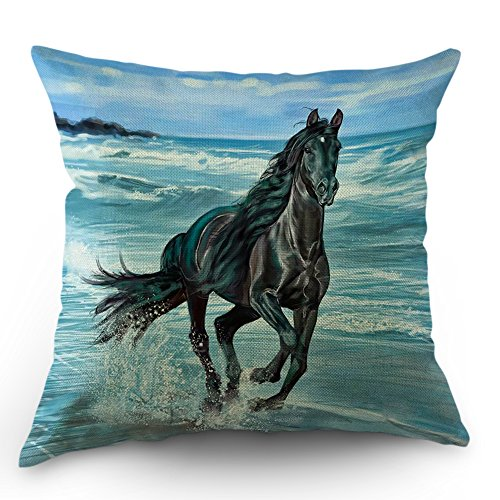 - Moslion Horse Pillow Cases Decorative Black Horses Running on The Beach Throw Pillow Covers 18 x 18 Inch Cotton Linen Cushion Cover for Valentine's Day Men Women Sky Blue Black
