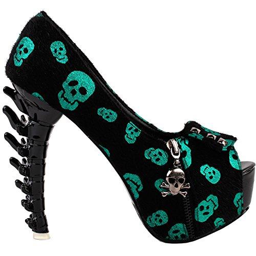 Show Story Womens Skull Zipper Peeptoe Platform Bone Heel Club Pumps,LF80624 Green Skull