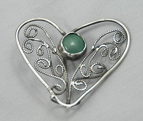 Filigree Jade heart brooch