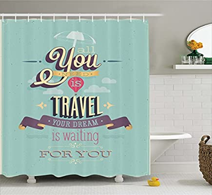 Ambesonne Vintage Decor Shower Curtain By Travel Dream Voyage Inspirational Motivational Themed Quote Happy Advertisement Fabric Bathroom Set With