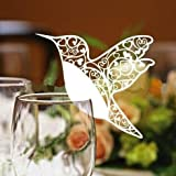 50 White Humming Birds Wedding Table Name Place Cards Wine Glass Party Decoration Favor by AHG