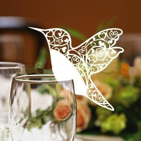 50 White Humming Birds Wedding Table Name Place Cards Wine Glass Party Decoration Favor by (Wedding Favors Table Decorations)