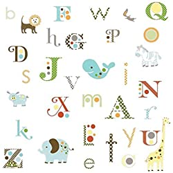 Lunarland ALPHABET ANIMALS 107 ABC BiG Wall Stickers ABC Name Room Decor Letter Decals