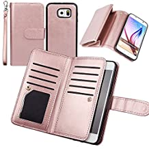 Wallet Case for Samsung S6, xhorizon TM FLK Premium Leather Folio Case Wallet Magnetic Detachable Removable Wristlet Purse Soft Multiple Card Slots Cover for Samsung Galaxy S6 G9200(Rose-gold)