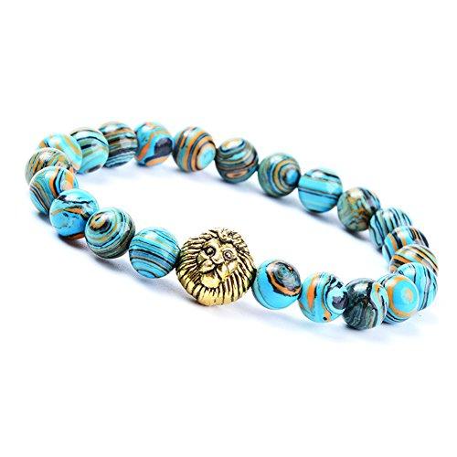Natural Stone Bracelet, Morbuy 8mm Stone Agate Bracelet Bangle Beads Bracelet for Men Women Lava Rock Elastic Natural Stone Bracelet Bangle (Blue (Letter Link Style Name Bracelet)