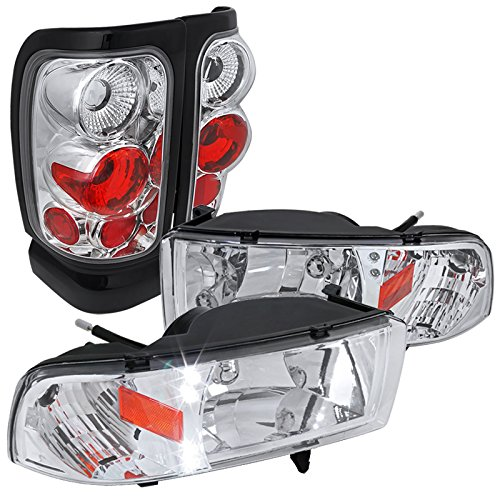 94-01 RAM 1500/2500/3500 LED DRL HEAD LIGHTS+CHROME/CLEAR TAIL BRAKE LAMPS