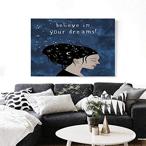 BlountDecor Motivational Canvas Wall Art for Bedroom Home Decorations Portrait of Woman with Dark Hair and Moon Stars Dream Believer Quote Feminine Art Art Stickers 48